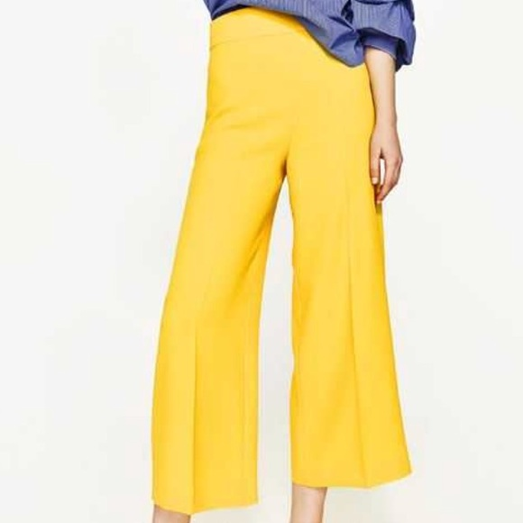 87b84bda Zara Pants   Nwt High Waisted Yellow Trouser Culottes   Poshmark